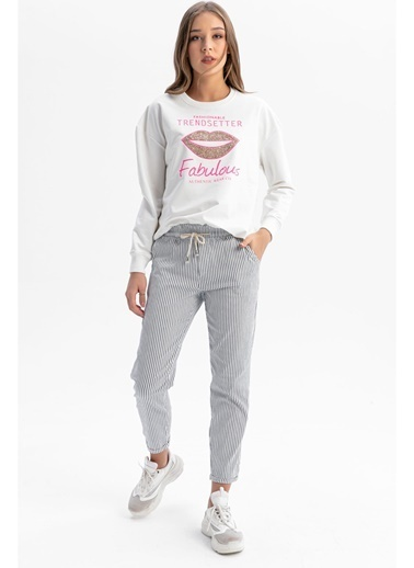 Tiffany&Tomato Beli Lastik Duble Paça Çizgili Havuç Pantolon - Gri Beyaz